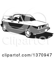 Clipart Of A Black And White Woodcut VW Rabbit Convertible Car Royalty Free Vector Illustration