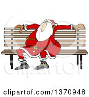 Cartoon Christmas Santa Claus Sitting On A Park Bench
