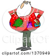 Cartoon Santa Claus Wearing An Ugly Christmas Sweater With Gifts And A Tree