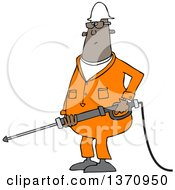 Cartoon Chubby Black Male Worker Pressure Washing