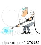 Cartoon Chubby White Man Wearing Protectove Goggles And Pressure Washing