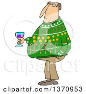 Clipart Of A Cartoon Chubby White Man Wearing An Ugly Christmas Sweater And Holding A Glass Of Wine At A Party Royalty Free Vector Illustration