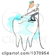 Clipart Of A Cartoon White Man Pressure Washing The Top Of A Tooth On A White Background Royalty Free Illustration