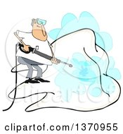 Cartoon White Man Pressure Washing A Giant Tooth On A White Background