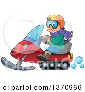 Clipart Of A Cartoon Happy White Man Driving A Snowmobile Royalty Free Vector Illustration