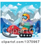 Clipart Of A Cartoon Happy White Man Driving A Snowmobile In A Winter Landscape Royalty Free Vector Illustration