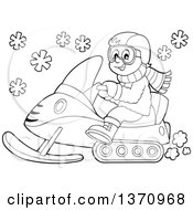 Clipart Of A Cartoon Black And White Happy Man Driving A Snowmobile Royalty Free Vector Illustration
