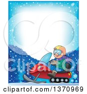 Clipart Of A Border Of A Cartoon Happy White Man Driving A Snowmobile Royalty Free Vector Illustration