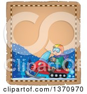 Clipart Of A Parchment Border Of A Cartoon Happy White Man Driving A Snowmobile Royalty Free Vector Illustration