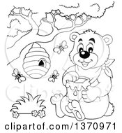 Clipart Of A Cartoon Black And White Bear Sitting And Holding A Honey Jar Under A Hive Royalty Free Vector Illustration by visekart