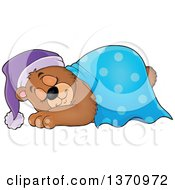 Clipart Of A Cartoon Cute Brown Bear Sleeping With A Blanket And Night Cap Royalty Free Vector Illustration by visekart