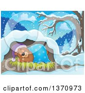 Clipart Of A Cartoon Cute Brown Bear Sleeping With A Blanket And Night Cap In A Cave Royalty Free Vector Illustration by visekart