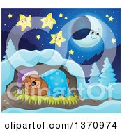 Clipart Of A Cartoon Cute Brown Bear Sleeping With A Blanket And Night Cap In A Cave At Night Royalty Free Vector Illustration by visekart