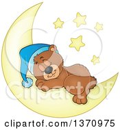 Clipart Of A Cartoon Cute Brown Bear Sleeping On A Crescent Moon Under Stars Royalty Free Vector Illustration