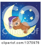 Clipart Of A Cartoon Cute Brown Bear Sleeping On A Crescent Moon Over Blue Rays Royalty Free Vector Illustration