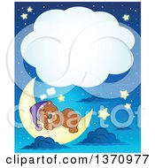 Clipart Of A Cartoon Cute Brown Bear Sleeping On A Crescent Moon With A Thought Balloon Against A Blue Night Sky Royalty Free Vector Illustration