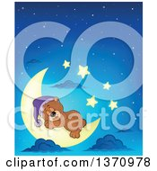 Clipart Of A Cartoon Cute Brown Bear Sleeping On A Crescent Moon Against A Blue Night Sky Royalty Free Vector Illustration