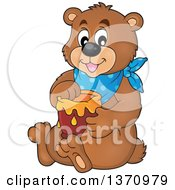 Clipart Of A Cartoon Brown Bear Sitting And Holding A Honey Jar Royalty Free Vector Illustration