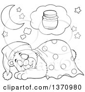 Clipart Of A Cartoon Black And White Cute Bear Sleeping With A Blanket And Night Cap Dreaming Of Honey Royalty Free Vector Illustration