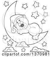 Clipart Of A Cartoon Black And White Cute Bear Sleeping On A Crescent Moon Under Stars Royalty Free Vector Illustration