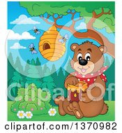 Clipart Of A Cartoon Brown Bear Sitting And Holding A Honey Jar Under A Hive Royalty Free Vector Illustration by visekart