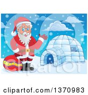 Clipart Of A Christmas St Nicholas Santa Claus Waving By An Igloo Royalty Free Vector Illustration by visekart