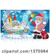 Clipart Of A Christmas St Nicholas Santa Claus Ringing A Bell By A Village Royalty Free Vector Illustration by visekart