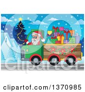 Clipart Of A Christmas St Nicholas Santa Claus Waving And Driving A Truck Full Of Gifts Through A Village Royalty Free Vector Illustration by visekart