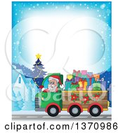 Clipart Of A Border Of Christmas St Nicholas Santa Claus Waving And Driving A Truck Full Of Gifts Royalty Free Vector Illustration by visekart