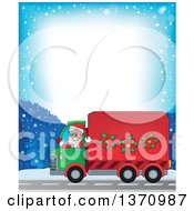 Clipart Of A Border Of A Christmas St Nicholas Santa Claus Waving And Driving A Big Rig Truck Royalty Free Vector Illustration by visekart