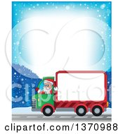 Clipart Of A Snowy Road Border Of A Christmas St Nicholas Santa Claus Waving And Driving A Big Rig Truck With A Blank Side Royalty Free Vector Illustration by visekart