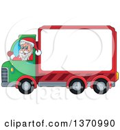 Clipart Of A Christmas St Nicholas Santa Claus Waving And Driving A Big Rig Truck With A Blank Side Royalty Free Vector Illustration by visekart