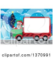 Clipart Of A Christmas St Nicholas Santa Claus Waving And Driving A Big Rig Truck With A Blank Side Through A Village At Night Royalty Free Vector Illustration by visekart