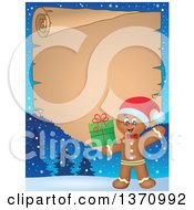 Clipart Of A Parchment Border Of A Happy Gingerbread Man Cookie Waving And Holding A Christmas Gift Royalty Free Vector Illustration