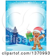 Clipart Of A Border Of A Happy Gingerbread Man Cookie Waving And Holding A Christmas Gift Royalty Free Vector Illustration