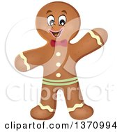 Clipart Of A Happy Gingerbread Man Cookie Waving Royalty Free Vector Illustration
