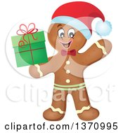 Clipart Of A Happy Gingerbread Man Cookie Waving And Holding A Christmas Gift Royalty Free Vector Illustration