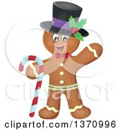Clipart Of A Happy Gingerbread Man Cookie Waving Wearing A Hat And Holding A Candy Cane Royalty Free Vector Illustration