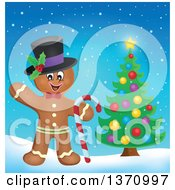 Clipart Of A Happy Gingerbread Man Cookie Waving Wearing A Hat And Holding A Candy Cane By A Christmas Tree Royalty Free Vector Illustration