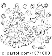 Clipart Of Black And White Penguins Putting Lights On A Christmas Tree In The Snow Royalty Free Vector Illustration