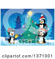 Clipart Of Cute Penguins Putting Lights On A Christmas Tree On A Winter Night Royalty Free Vector Illustration