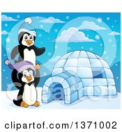Clipart Of Cute Penguins Playing Around An Igloo Royalty Free Vector Illustration by visekart