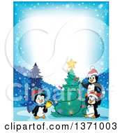 Clipart Of Border Of Cute Penguins Putting Lights On A Christmas Tree On A Winter Night Royalty Free Vector Illustration