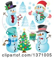 Clipart Of Christmas Snowmen And Trees Royalty Free Vector Illustration