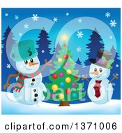 Clipart Of Christmas Snowmen Cheering By A Tree Royalty Free Vector Illustration