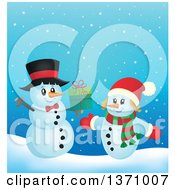 Clipart Of A Christmas Snowman Couple Exchanging Gifts Royalty Free Vector Illustration