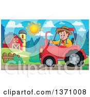 Poster, Art Print Of Cartoon White Male Farmer Driving A Tractor And Waving By A Barn