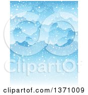 Clipart Of A Winter Background Of Snow Falling From Clouds Over Blue Sky Royalty Free Vector Illustration