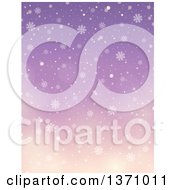 Clipart Of A Winter Background Of Snow Falling Over A Gradient Purple Sky Royalty Free Vector Illustration