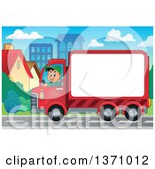 Clipart Of A Cartoon Happy White Man Driving A Delivery Truck With Advertising Space In A Town Royalty Free Vector Illustration